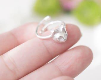 Cat ring, animal rings, silver ring, light ring,tiny kitten,925 cat ring,kitty ring,silver animal ring,animal ring