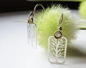 Tree Earrings, Rectangular Silver Tree Earring, 925 Sterling Silver Bali Hooks, Botanical Dangle Earring, Gifts For Her, Nature Lovers Gift.