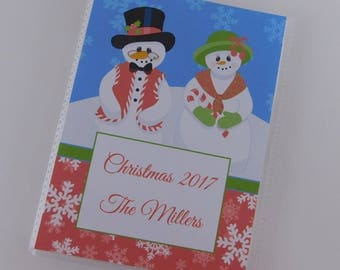 Christmas Photo Album Snowman Recipe Card Book Baby girl Boy personalized Family 4x6 or 5x7 picture My First Christmas Custom Gift 697