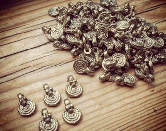 Charm Brass 5/10/20 PC Tribal brass charm 12 mm art supplies metal beads bohemian metal Antique Brass artofgoddess