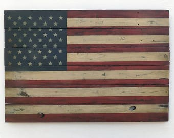 Rustic Wooden American Flag, 24 X 36 inches. Made from recycled fencing. Free Shipping  P