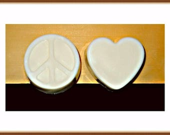 Peace Sign Soap, Heart Soap, Goat Milk Soap, Unscented Soap, Scented Soap, All Natural Soap
