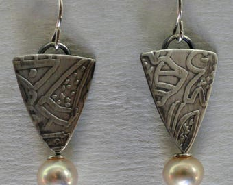 Sterling Silver Earrings, with Champagne Freshwater Pearls. Free US Shipping