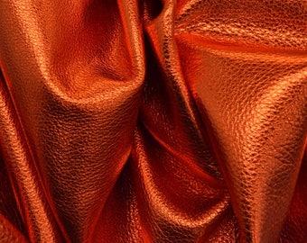 """Place Your Bets Burnt Red Metallic """"Vegas"""" 6.2 SF 2-3 oz Leather Cow Project Piece DE-64175 (Sec. 7,Shelf 1,C)"""