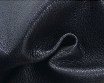 "NZ Deer Sale Raven Black Leather New Zealand Deer Hide 12"" x 12"" Pre-cut 3-4 ounces TA-38280 (Sec. 6,Shelf 4,B)"