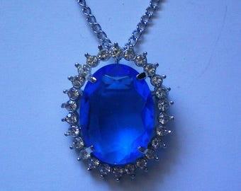 Royal Blue Rhinestone Pendant / Pin - 5462