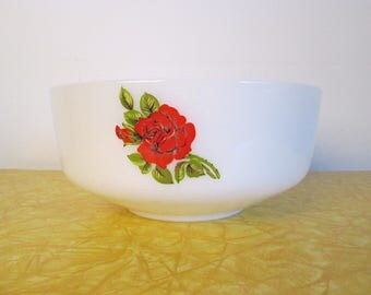 Vintage Federal Glass Mixing Bowl - Red Rose Pattern Milk Glass Bowl