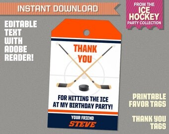 Ice Hockey Favor Tag / Ice Hockey Thank you Tag - Ice Hockey Birthday - INSTANT DOWNLOAD - Edit and print at home with Adobe Reader