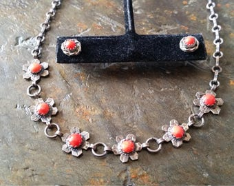 Vintage Sterling Silver Coral Flower Adjustable Necklace Matching Earring Set