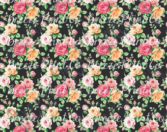 Rose floral patterned vinyl sheet, craft vinyl, Heat transfer vinyl or Adhesive Vinyl, with black background flower pattern vinyl  HTV2229