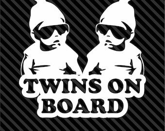 Twins on Board vinyl decal/sticker funny truck car Hangover Carlos