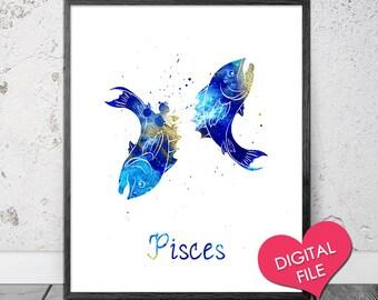 Pisces Sign, PRINTABLE Art, Digital Download, Horoscope Print, Printable Pisces Art, Pisces Horoscope Print, Pisces Zodiac Sign, Pisces Gift