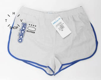 NOS Vintage ADIDAS Originals Road Runner Timing shorts / Unisex sports athletic pants / Deadstock pattern shorts / Made in France 80s S M