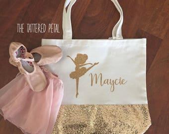 Dance bag, tote bag, customized dance bag, glitter bag, glitter tote, ballerina, ballet bag, gymnastics bag, gold glitter