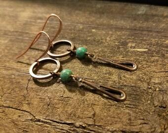 Boho Earrings, Copper Earrings, Metal Earrings