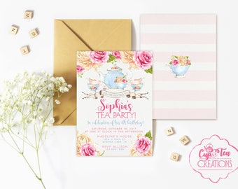 Tea Party Birthday Invitation, Tea Party Invitation, Tea Party Invite, Birthday Tea Party Invitation