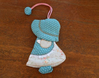 Little Blue Hat Cute Girl Cotton Key Cover Key Ring 2