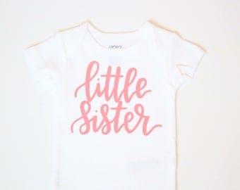 Little sister shirt, Baby girl clothes, Little Sister Shirt, little sister , coral bodysuit, baby girl shirt