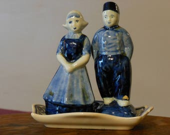 Dutch Couple Salt & Pepper Shakers with Tray.