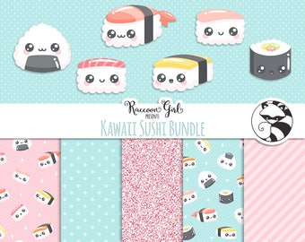 Kawaii Sushi Bundled Clipart and Digital Paper Set - Personal & Commercial Use