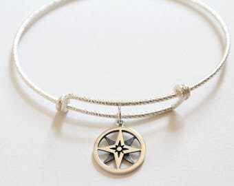 Sterling Silver Bracelet with Sterling Silver North Star Charm, North Star Compass Pendant Bracelet, North Star Bracelet, Compass Bracelet