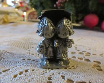 LITTLE GALLERY PEWTER Figurine of Two Girls