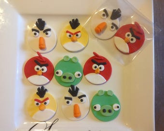 12 Angry Bird Fondant cup cake toppers