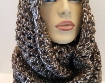 ON SALE Infinity Scarf - Hooded Scarf, Cowl Infinity Crochet Scarf, Scarves for Women, Gift for Her, Handmade Scarf, Fishermen's Wool