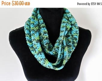 ON SALE Cowl Infinity Scarf - Turquoise Unisex Scarf, Crocheted Neckarmer Scarf