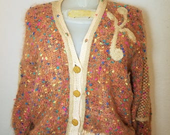 FREE  SHIPPING   1960  mohair  Cardigan