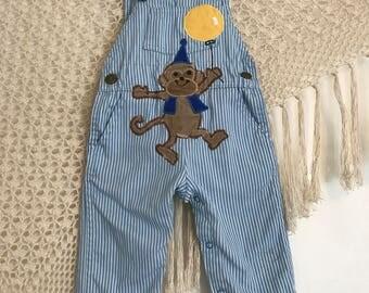 Vintage OshKosh overalls, monkey overalls, size 12 months folkie baby overalls, hippie baby overalls, boho baby, oshkosh baby, vintage baby,