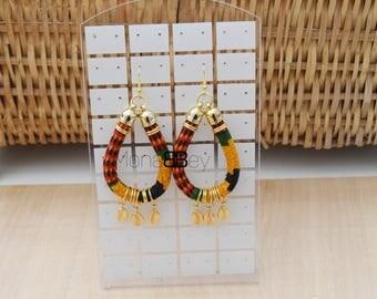 African fabric hoop earrings, kente earrings, african earrings, ankara earrings, anniversary gift, bijoux africains, créole en wax,