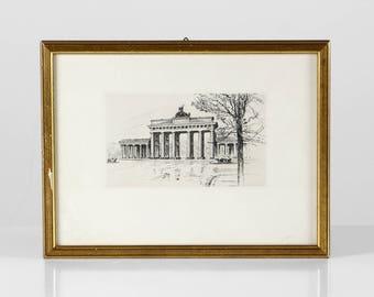 Framed Berlin etching, Berlin Brandenburger Tor, brass frame etching, Berlin drawing