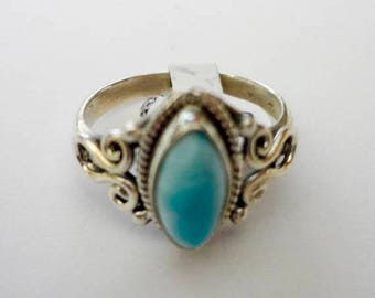 ENDLESS SUMMER SALE Pretty and Petite Genuine Aaa Grade Larimar Ring .925 Sterling Silver  Free U.S. Shipping  U.S. Size 6 1/4