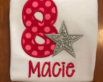 Red, Pink, and Silver Rock Star Embroidered Birthday Shirt or Baby Bodysuit