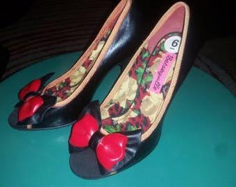 Red Bow Betsey Johnson Rockabilly Peep Toe High Heels