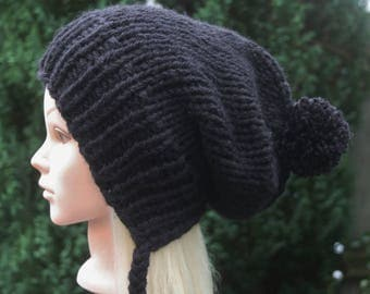 Women's Black Slouchy Ear Flap Hat with Pom Pom, 11 COLOR CHOICES, Slouchy Beanie hat, Bubble hat, Gift for Her, Knit Accessories