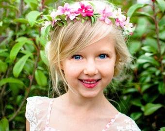 Pink Flower Crown, Bright Pink Flower Girl Flower Crown, Pink Wedding, Pink White Boho Flower Crown, Boho Photo Shoot, Child Flower Crown