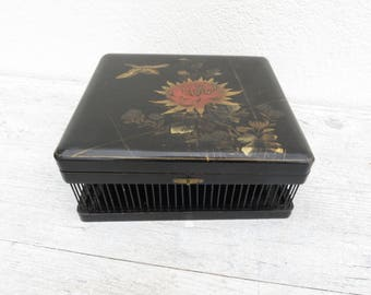 Chinese CRICKET CAGE - Wood and Metal Black Lacquered Box - Chinese gold paint design on lid