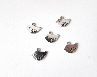 16x13mm silver metal bird charms