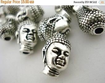 Summer Sale Buddha Head TierraCast Antique Silver 14mm Big Hole Beads Qty 4 Zen Buddhism Yoga Beads