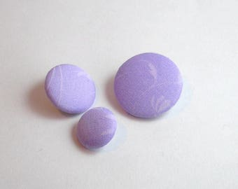 22 mm purple floral fabric button