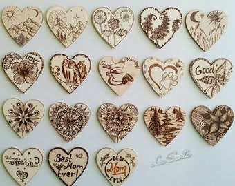 Fridge Magnets, Wooden Magnets, Heart Magnets,  Love Magnets, Refrigerator Magnets
