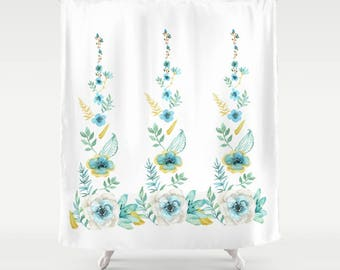 Blue Floral Shower Curtain - white with blue flowers - Fabric - beautiful shower, spring, clean look, flowers,  extra long