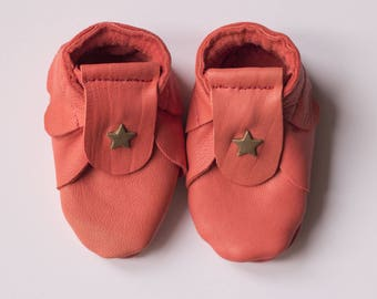 Red coral leather tanned newborn 0-1 month baby shoes