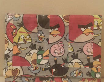 HANDMADE Duct Tape Art Wallet, Angry Birds theme, with secure velcro closure, children's wallet
