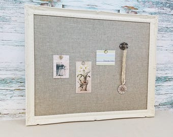 White framed bulletin board - shabby chic decor - with fabric - magnetic board