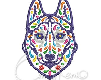 MACHINE EMBROIDERY DESIGN - Calavera Husky