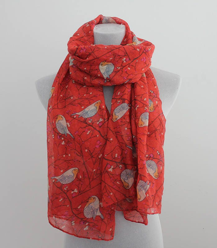 bird infinity scarf red bird scarf fall scarf loop scarf winter scarf