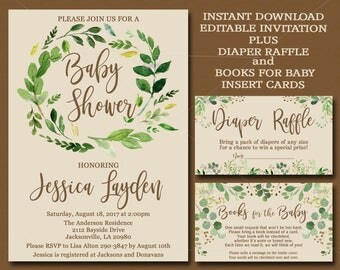 Botanical Baby Shower, Editable invitation set, Books for Baby and Diaper Raffle inserts Watercolor Greenery Invitation instant download 045
